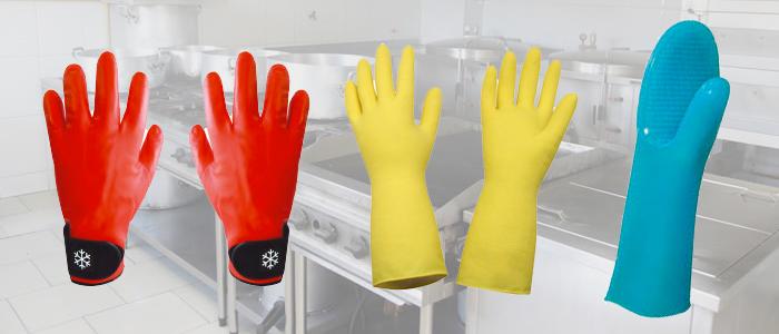 Foto das luvas térmicas e latex - mais usadas na cozinha industrial