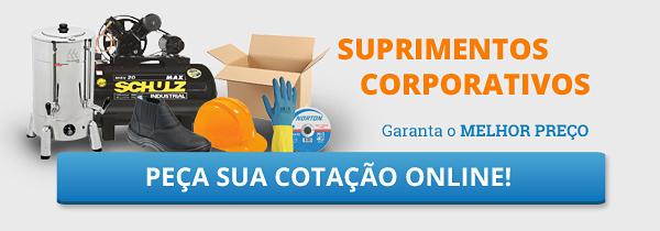 banner com imagem de produtos de uso corporativo, imagem contém botão para fazer cotação online