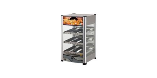 Com três andares de prateleiras em arame de aço cromado e nove bandejas para dar suporte a tortas, salgados, etc