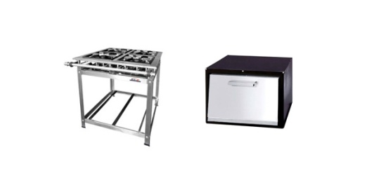 Fogão 6 bocas simples, FC2. Este fogão é confeccionado em aço carbono ou em aço inox e forno para fogão industrial, FC2. Confeccionado em porta de inox e chapa preta